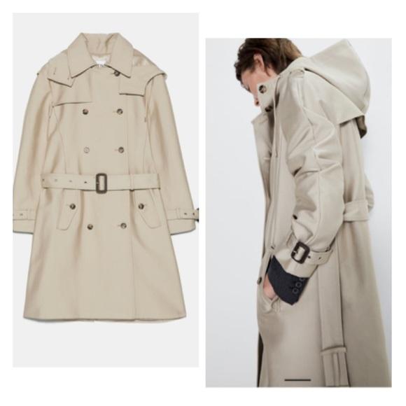 Zara Jackets & Blazers - Water resistant hooded trench coat